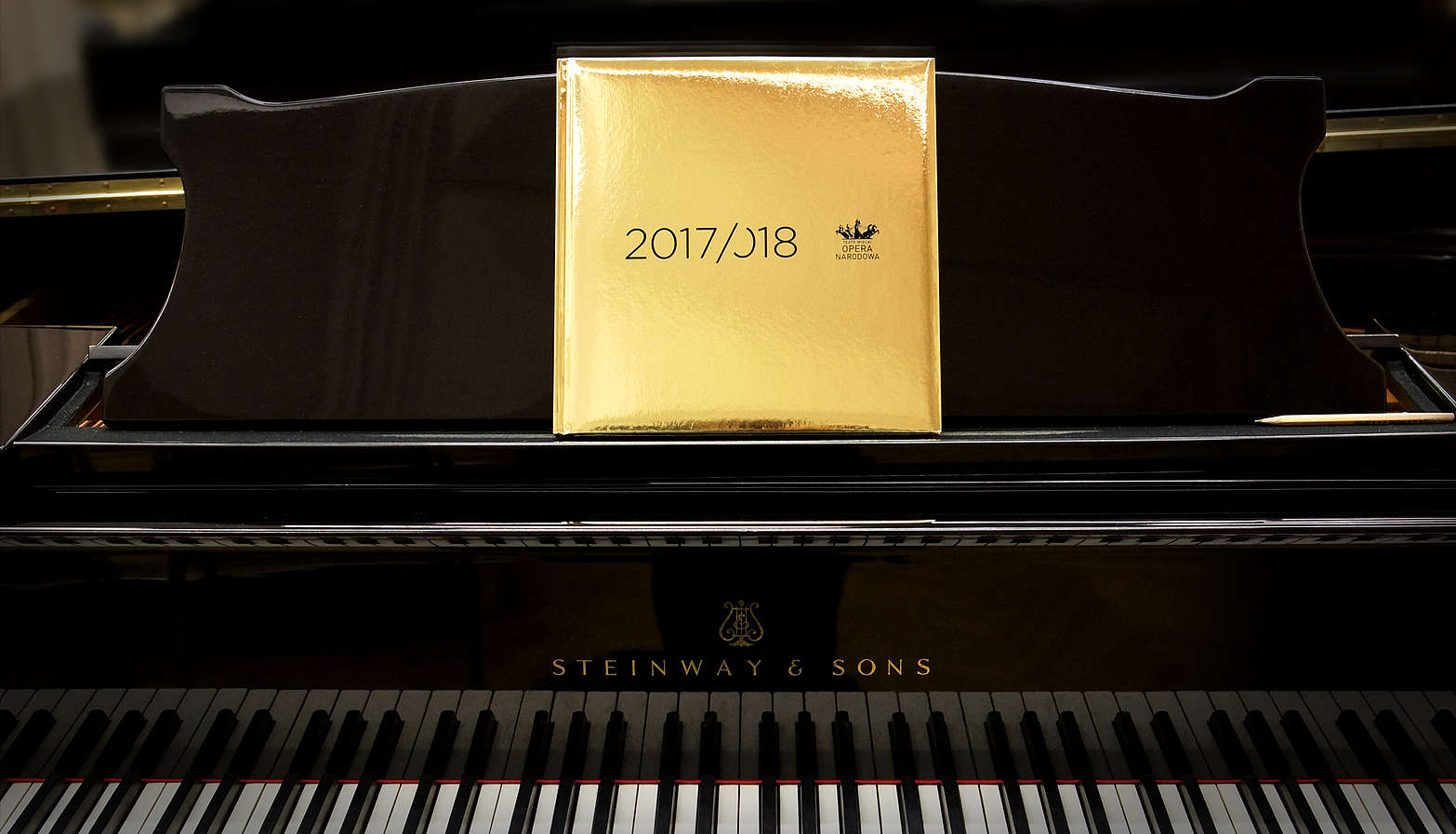 Pictured: Gold-bound book propped on a piano