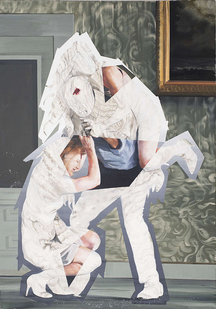 Painting features two women fighting a man, all depicted as paper cutouts