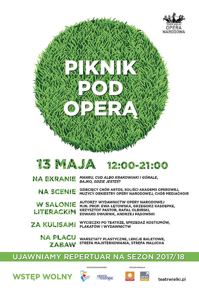 The poster features a green lawn in the shape of the circle on a white background with the inscription 'Picnic By the Opera' running across the image