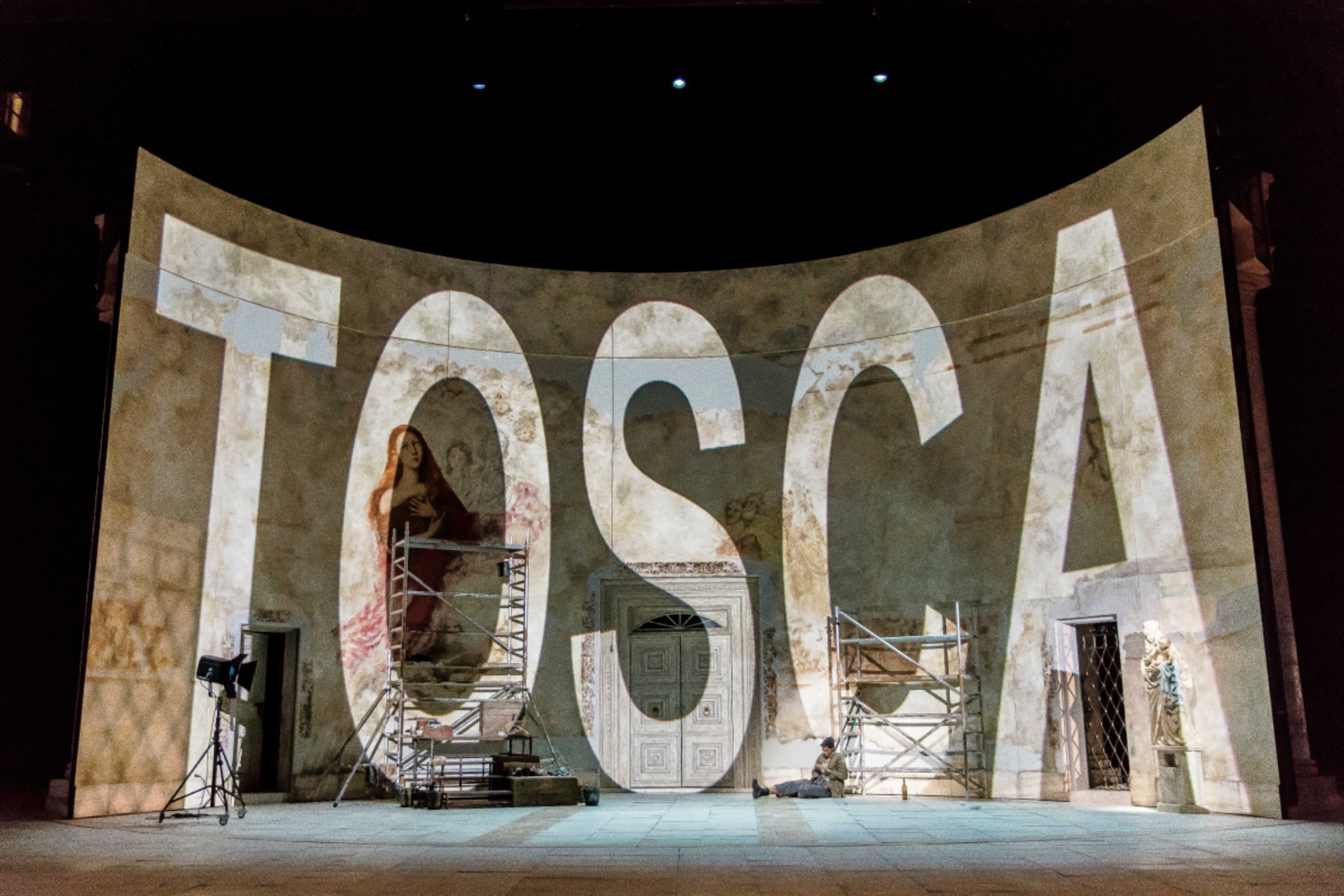 Pictured: A flat with an huge inscription reading 'Tosca'