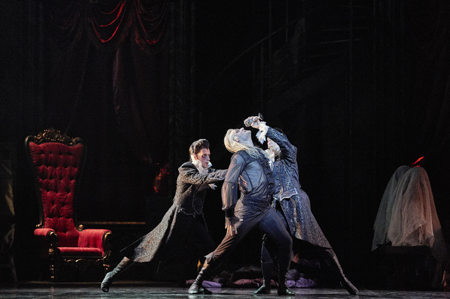 Pictured: Aurelien Scannella, Matthew Edwardson, and Oliver Edwardson in West Australian Ballet's production of Dracula choreographed by Krzysztof Pastor. Photo: Jon Green